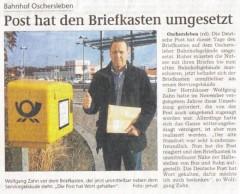 Bahnhof Oschersleben: Post hat den Briefkasten umgesetzt